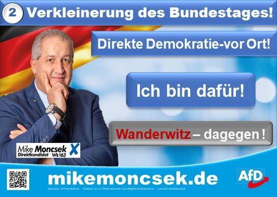 Mike Moncek steht für: Verkleinerung des Bundestags