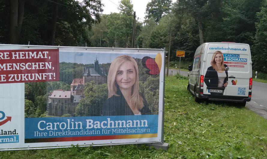 Carolin Bachmann und ihr Team im Wahlkampf: Tausende Plakate, Großflächenplakate, Zeitungsanzeigen & Flugblätter