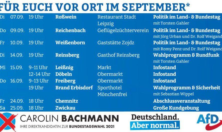 Direktkandidatin Carolin Bachmann: Für Euch vor Ort im September – Terminübersicht
