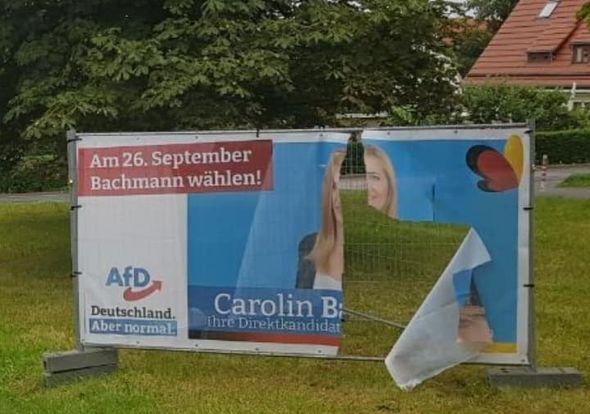 Direktkandidatin Carolin Bachmann zur Zerstörung von AfD-Werbung im Wahlkampf
